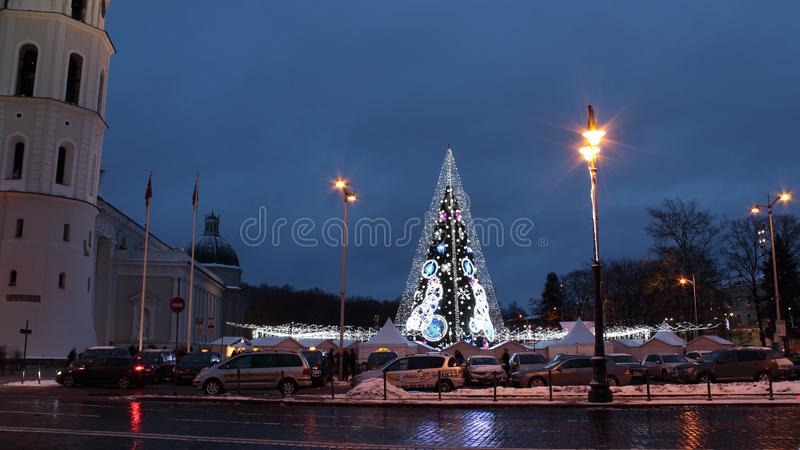 Central Cathedral Square in Vilnius, Lithuania, Christmas Tree 2018 stock photo