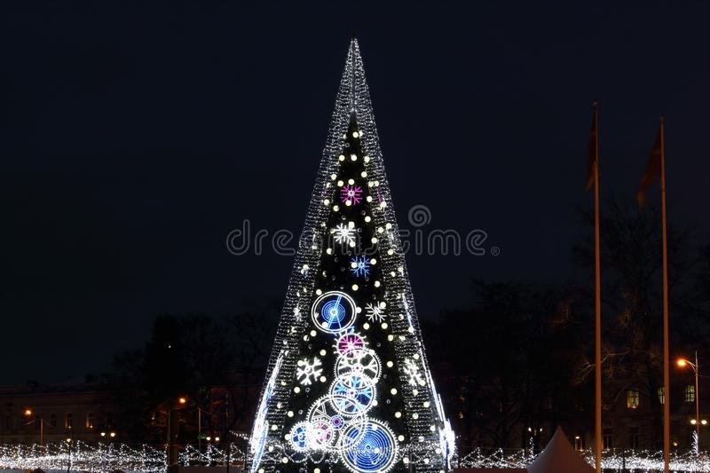 Central Cathedral Square in Vilnius, Lithuania, Christmas Tree 2018. Central Cathedral Square in Vilnius, Lithuania, Christmas Tree of end of 2018 year royalty free stock photos