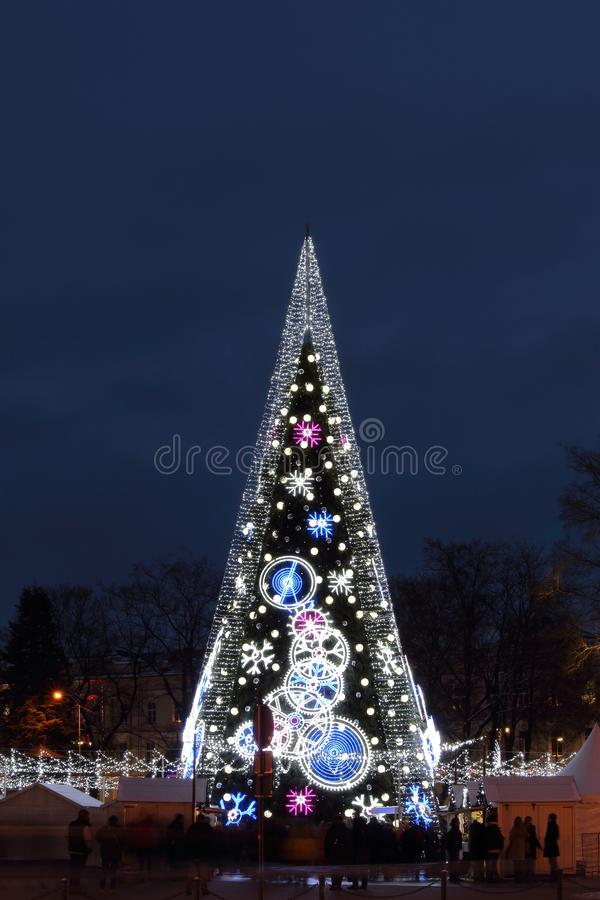 Central Cathedral Square in Vilnius, Lithuania, Christmas Tree 2018. Central Cathedral Square in Vilnius, Lithuania, Christmas Tree of end of 2018 year stock photography