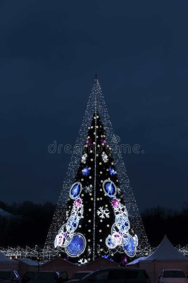 Central Cathedral Square in Vilnius, Lithuania, Christmas Tree 2018. Central Cathedral Square in Vilnius, Lithuania, Christmas Tree of end of 2018 year stock photo