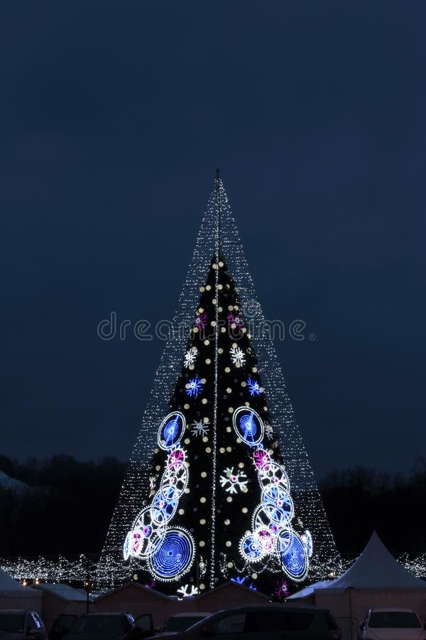 Central Cathedral Square in Vilnius, Lithuania, Christmas Tree 2018. Central Cathedral Square in Vilnius, Lithuania, Christmas Tree of end of 2018 year stock images