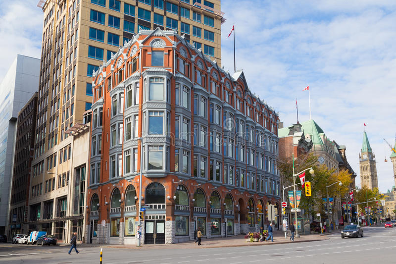 Central Chambers Building - Ottawa. OTTAWA, CANADA - 12TH OCTOBER 2014: The outside of the Central Chambers buildings in Ottawa along Elgin Street during the day royalty free stock photo