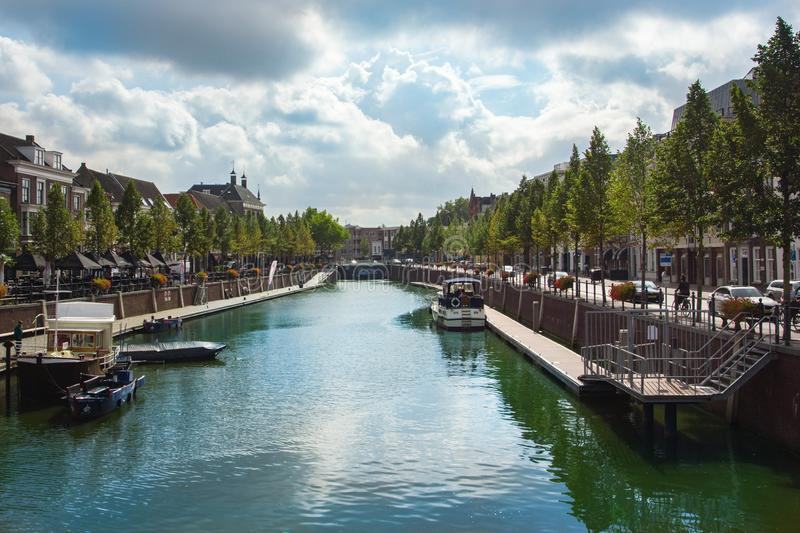 Central channel in Breda, Netherlands. With boats, in summertime royalty free stock photography