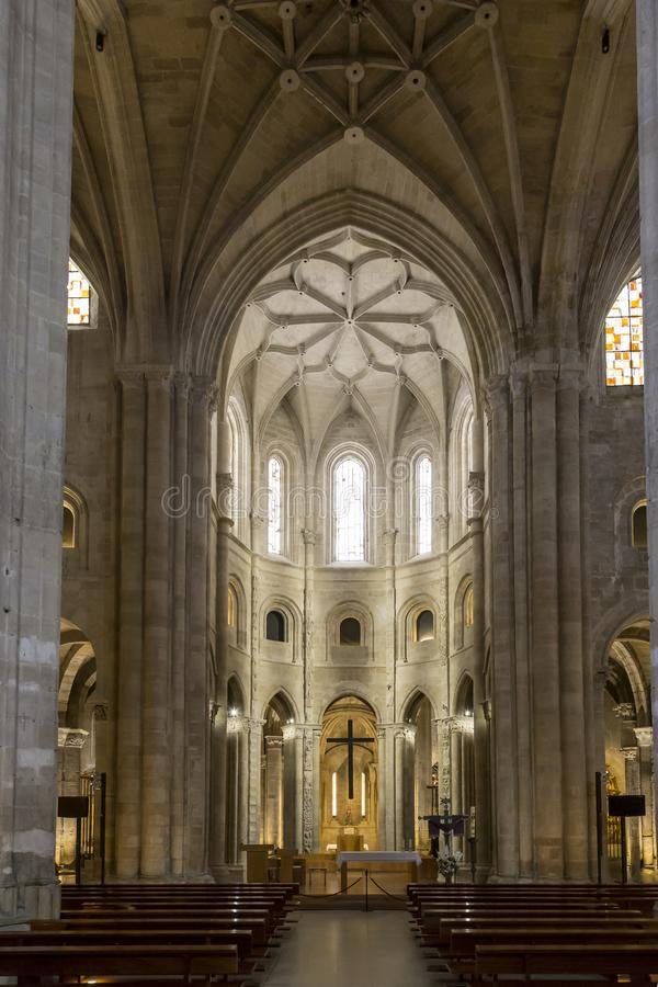 Interior cathedral of Santo Domingo de la Calzada, Rioja, Spain. Central chapel in the Cathedral of Santo Domingo de la Calzada, Rioja, Spain stock photos