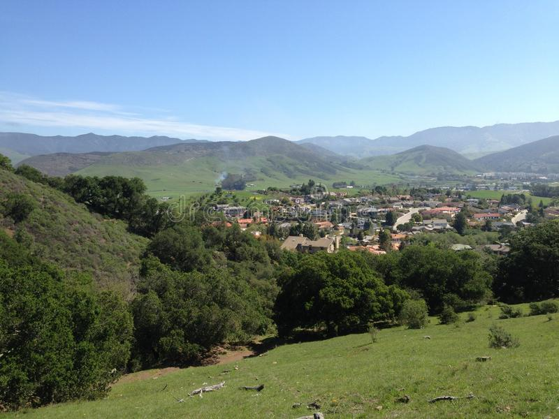 Town overhead view from Central Coast Canyon stock images