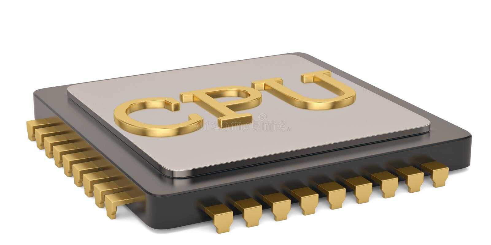Central computer processors cpu isolated on white background 3D illustration royalty free illustration