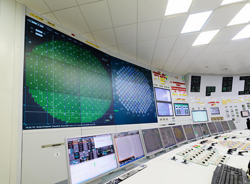 The central control room of nuclear power plant. Fragment of nuclear reactor control panel royalty free stock photo