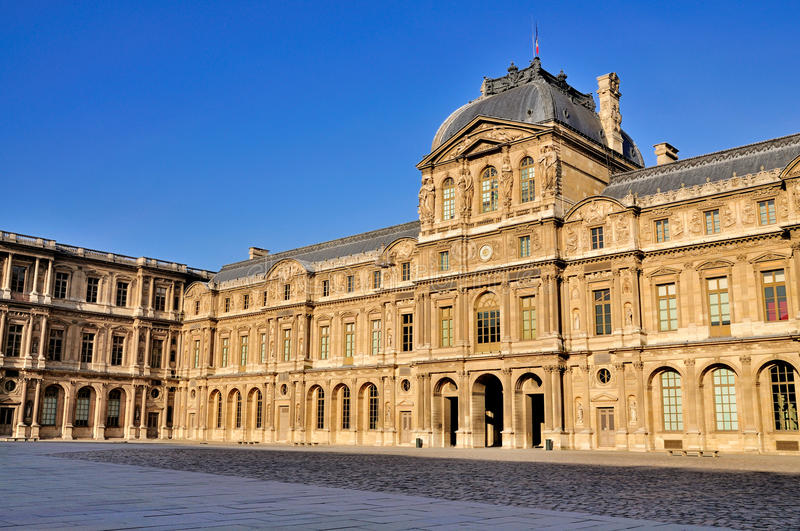 Central Courtyard Of The Louvre, Paris Stock Image