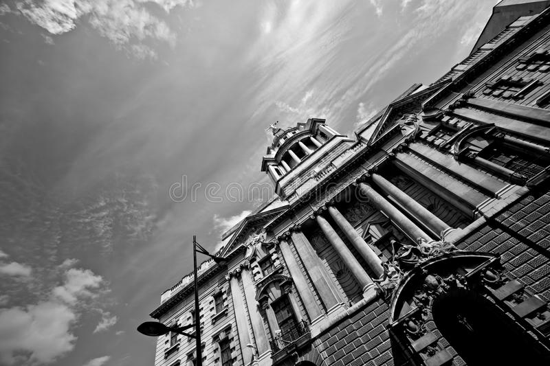Central Criminal Courts, London. The impressive architecture of the Central Criminal Courts, London, UK. In B/W tone for mood royalty free stock image