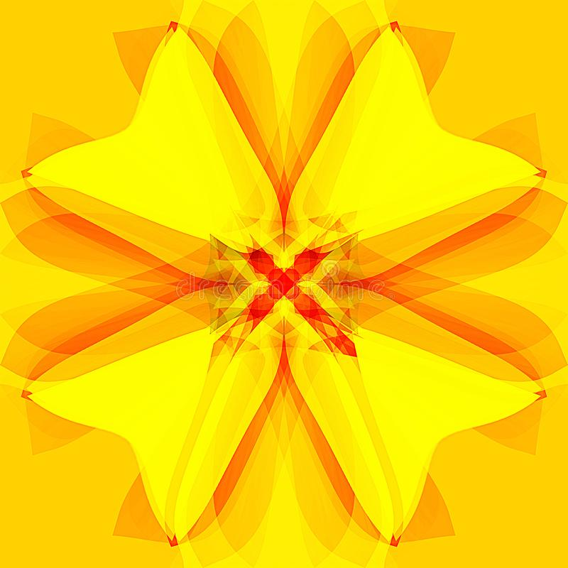 Daisy flower mandala in bright pallet, abstract background in gold, yellow and orange stock photo