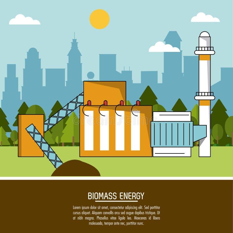 Central de energía de la biomasa del fondo del paisaje del color libre illustration