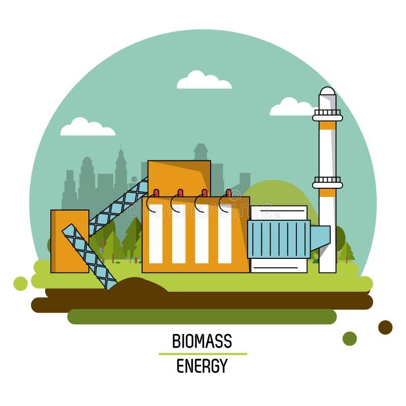 Central de energía de la biomasa de la imagen del paisaje del color stock de ilustración