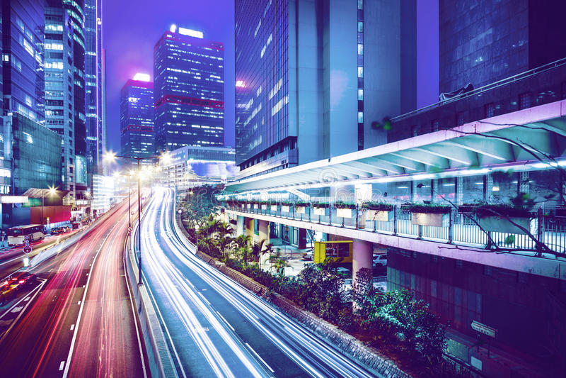 Central de Hong Kong na noite imagem de stock royalty free