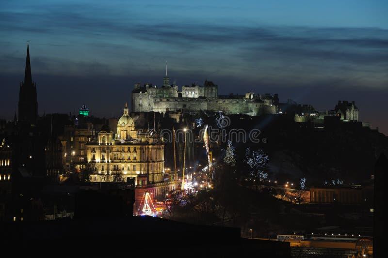 Central Edinburgh, Scotland, UK, at dusk stock photography