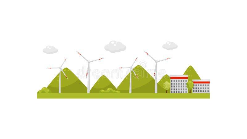 Central eléctrica de energía eólica moderna Energía del molino de viento Turbinas, edificios y colinas verdes Fuente alternativa  stock de ilustración