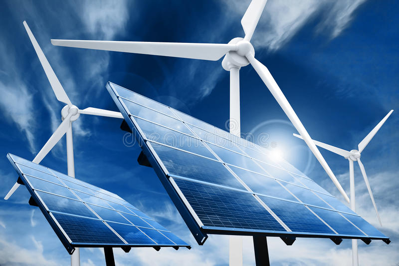 Central eléctrica de la energía limpia imagen de archivo