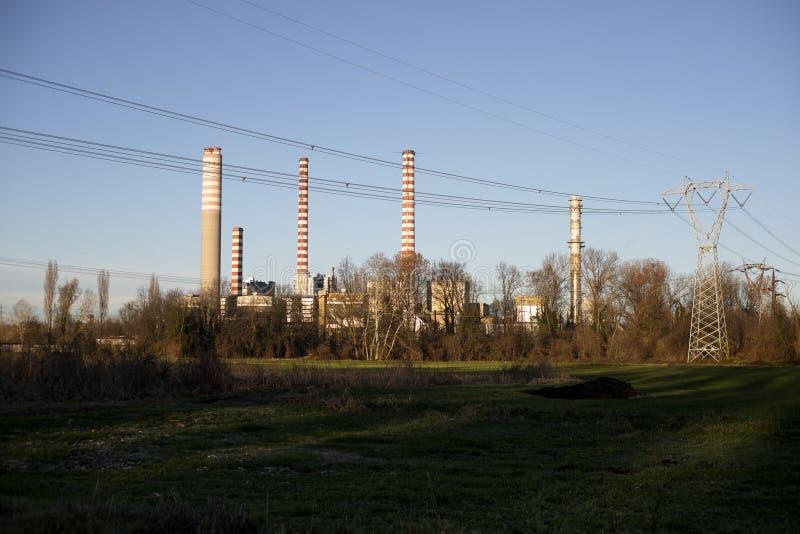 Central eléctrica en Turbigo, Milán, Italia fotos de archivo libres de regalías