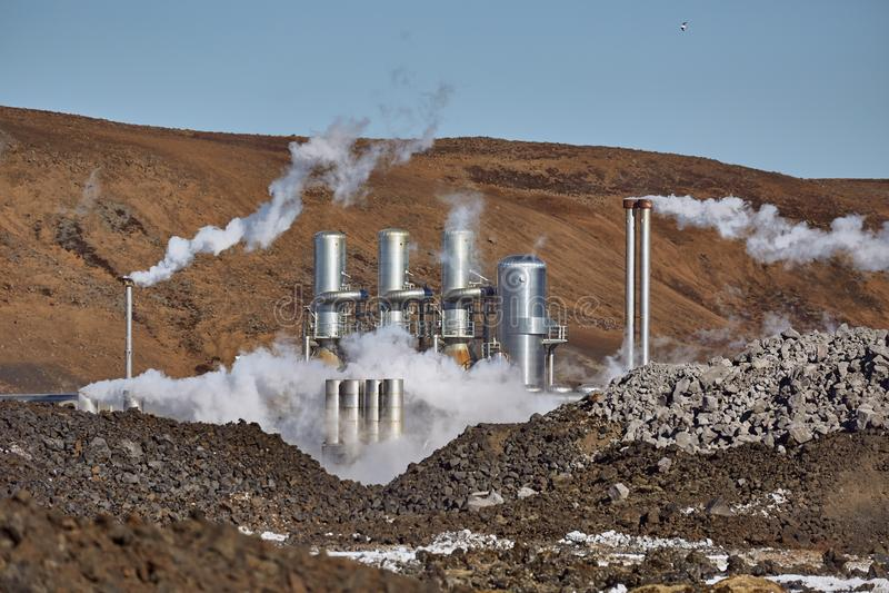 Central eléctrica geotérmica foto de archivo libre de regalías