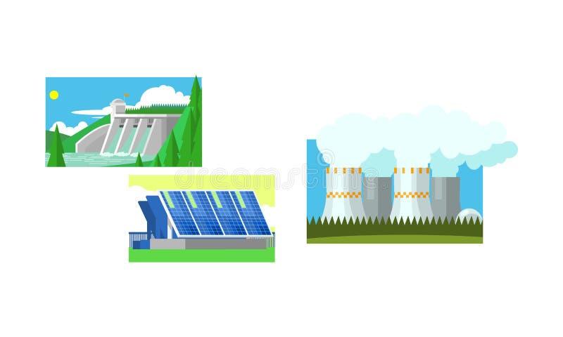 Central eléctrica, los paneles solares, central eléctrica de agua, limpio y ejemplo del vector de la producción de la generación  ilustración del vector