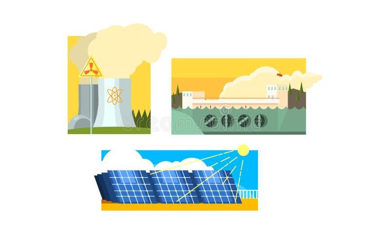 Central eléctrica, los paneles solares, central, limpio nucleares y producción de la generación de la energía de la contaminación ilustración del vector