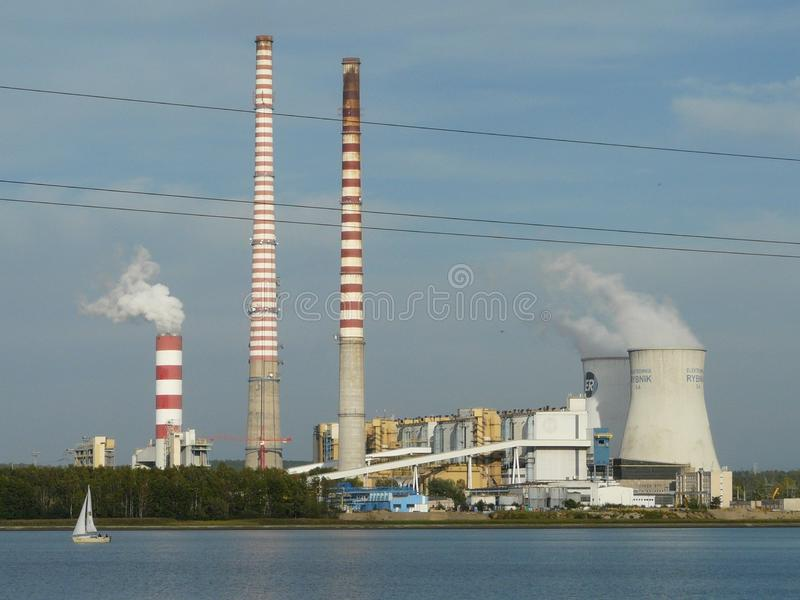 Central el?ctrica Rybnik-industrial de la vista-Rybnik imagen de archivo libre de regalías