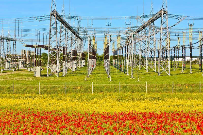Central eléctrica y distribución imagen de archivo