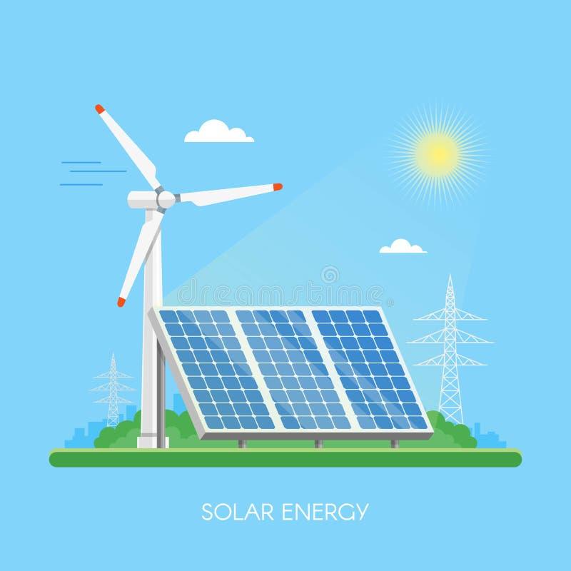 Central eléctrica y fábrica de los paneles solares stock de ilustración
