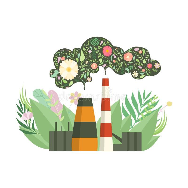 Central elétrica amigável de Eco com as flores em vez do fumo, proteção ambiental, ilustração do vetor do conceito da ecologia ilustração stock