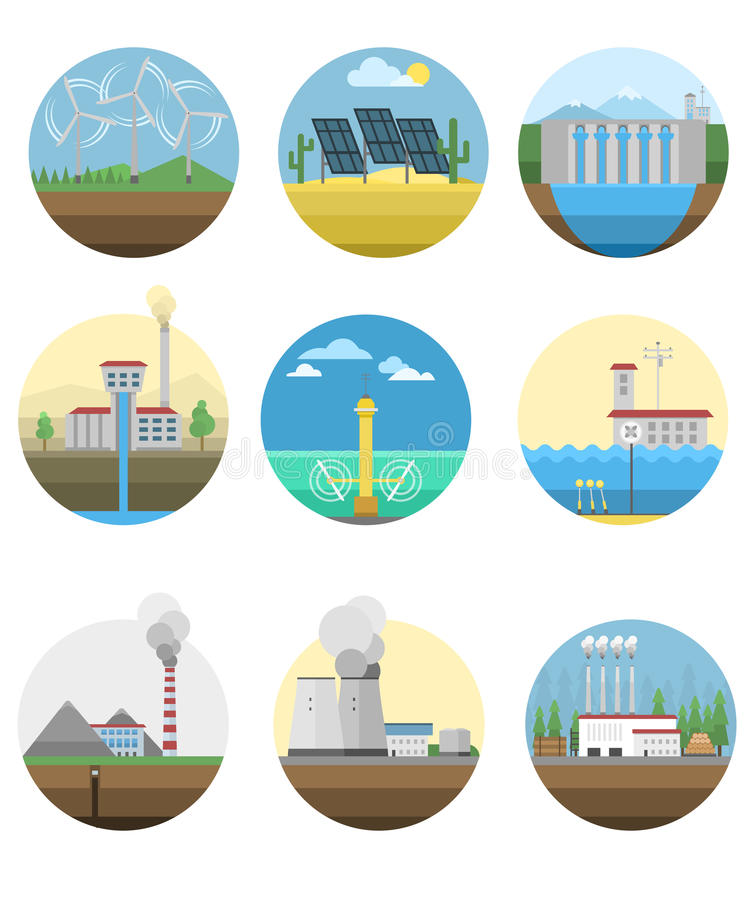 Central elétrica da eletricidade da energia alternativa ilustração do vetor