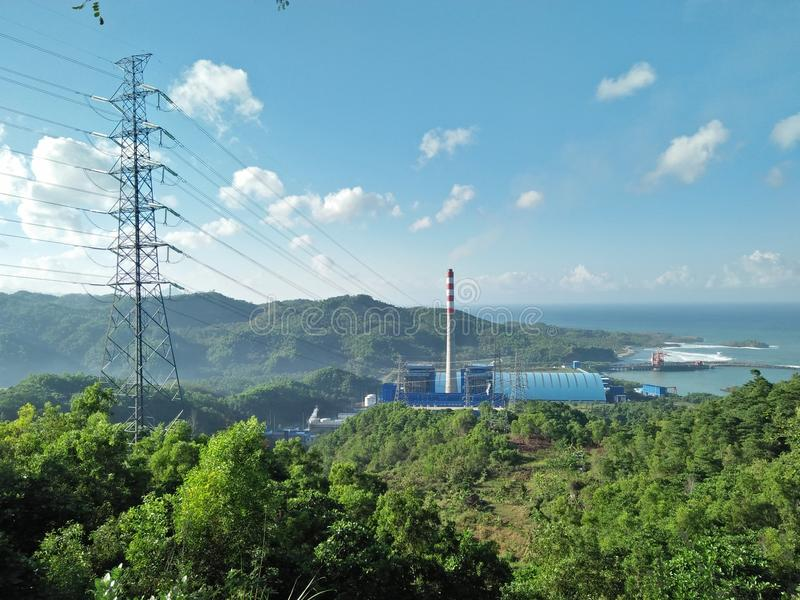 Central elétrica da eletricidade do vapor imagem de stock