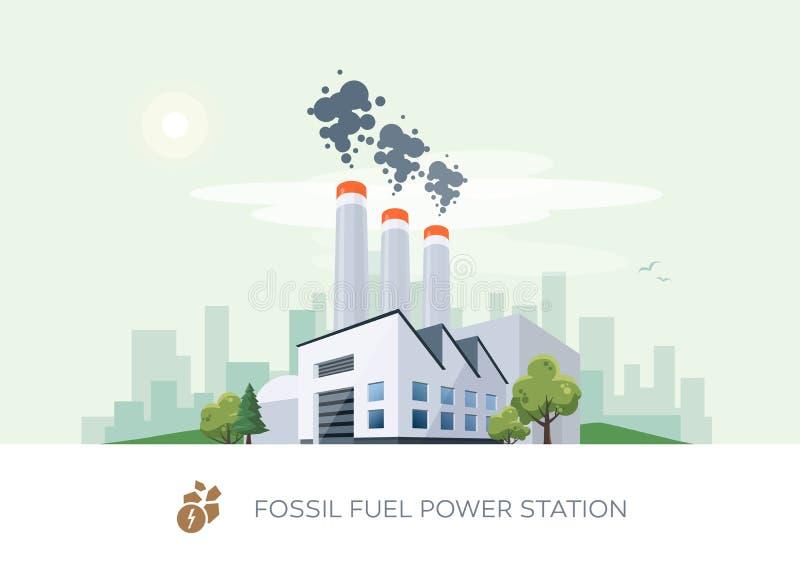 Central elétrica de combustível fóssil ilustração royalty free