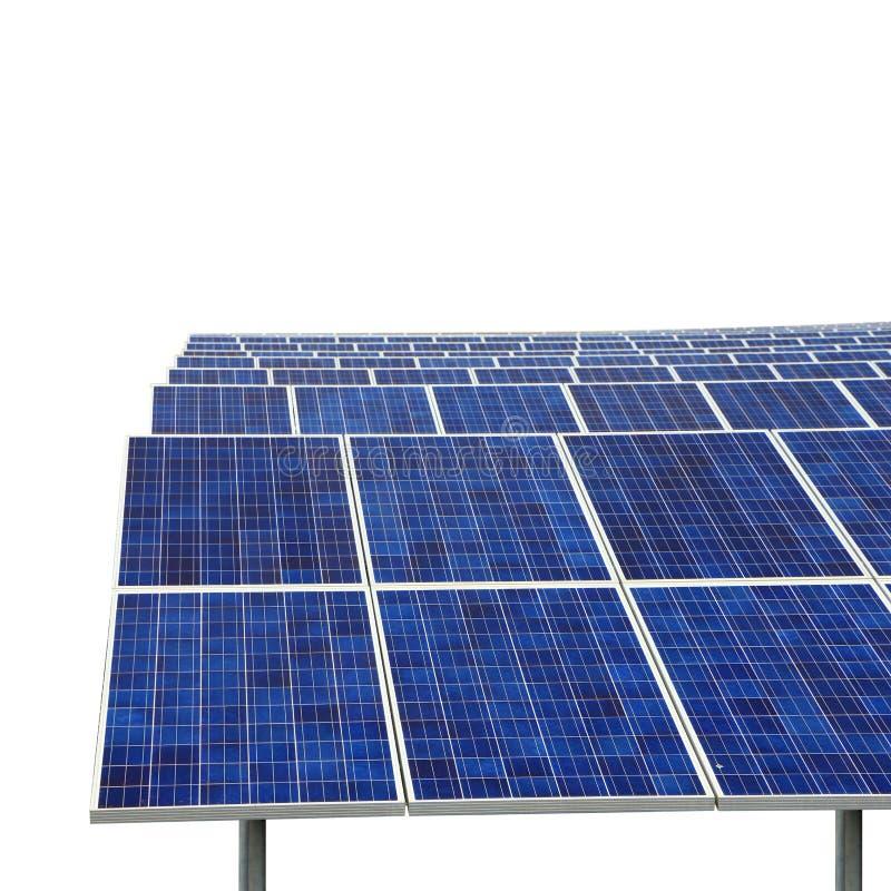 Central elétrica fotovoltaico do eco solar da exploração agrícola isolada fotografia de stock
