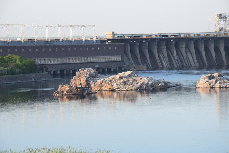 Central elétrica hidroelétrico de Zaporozhye foto de stock royalty free