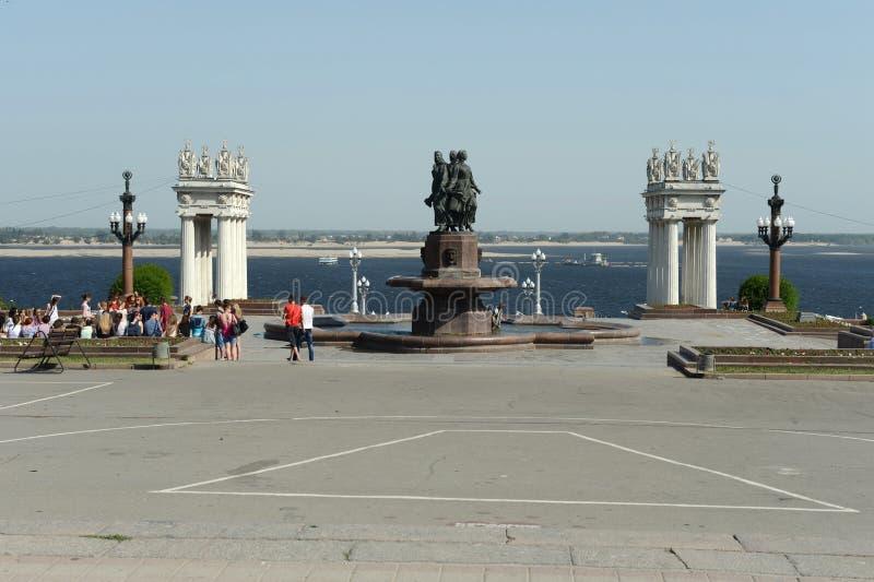 Central embankment of the Volga river in Volgograd. royalty free stock photos