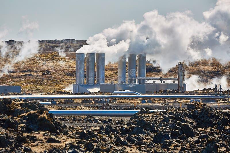 Central energética Geothermal imagem de stock