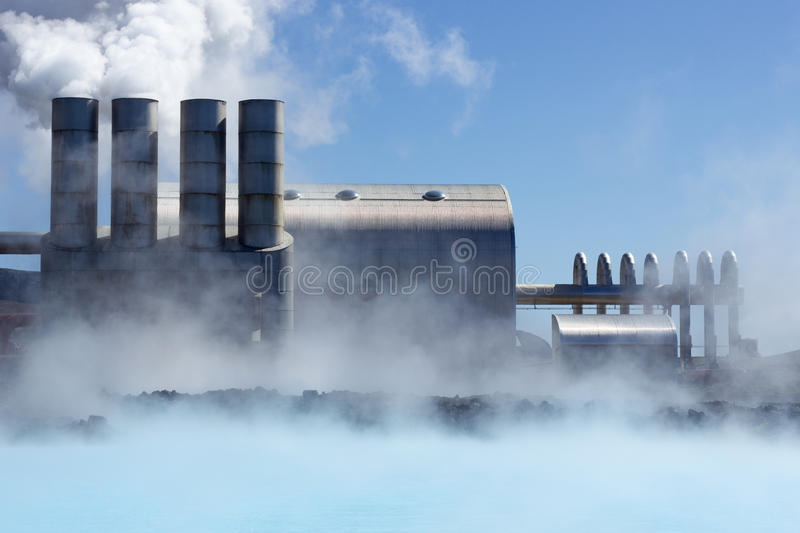 Central energética Geothermal fotografia de stock
