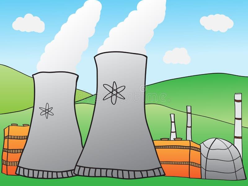 Central energética nuclear ilustração stock