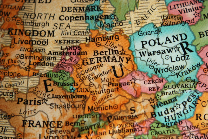 Central Europe jordklotöversikt arkivbild