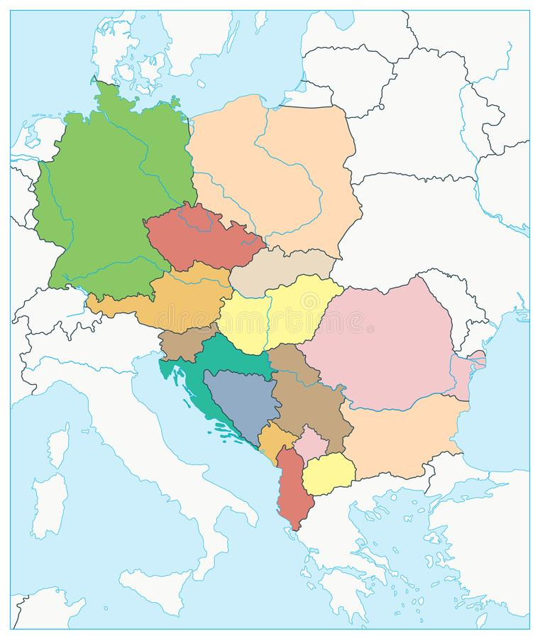 Central Europe Political Map No Text Stock Vector Illustration of