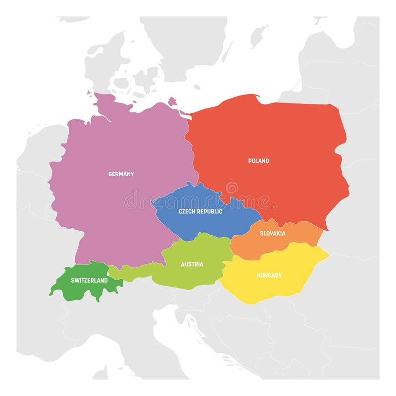 Central Europe Region. Colorful map of countries in central part of Europe. Vector illustration royalty free illustration