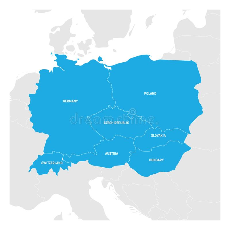 Central Europe Region. Map of countries in central part of Europe. Vector illustration royalty free illustration
