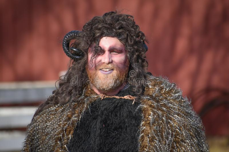 Krampus - Folklore Character at Old World Wisconsin royalty free stock images