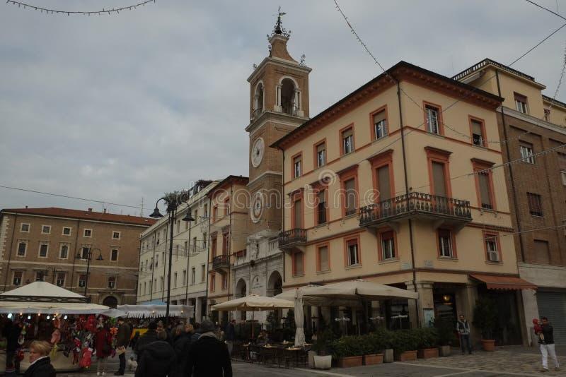 Central fyrkant av Rimini, Italien royaltyfria foton