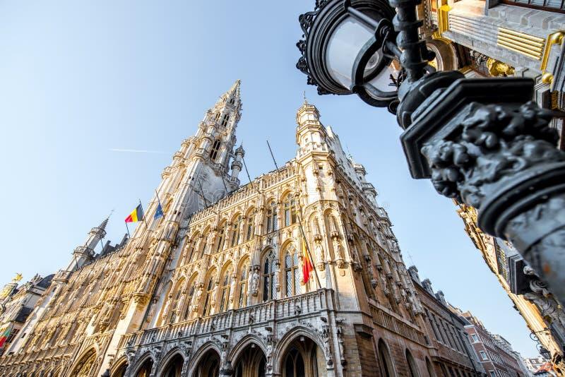 Central fyrkant i den Bryssel staden royaltyfria bilder