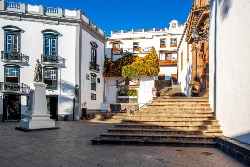 Central fyrkant i den gamla staden Santa Cruz de la Palma arkivfoto