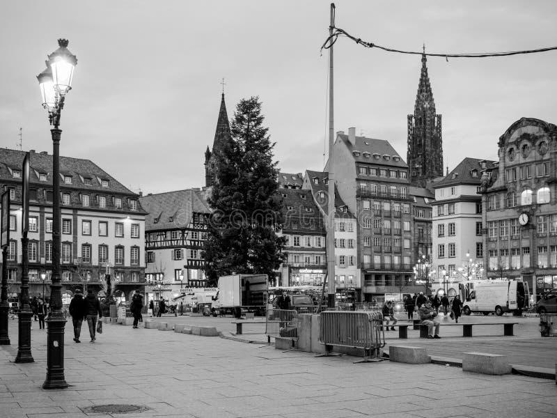 Central fyrkant i det Frankrike Strasbourg stället Kleber arkivbild
