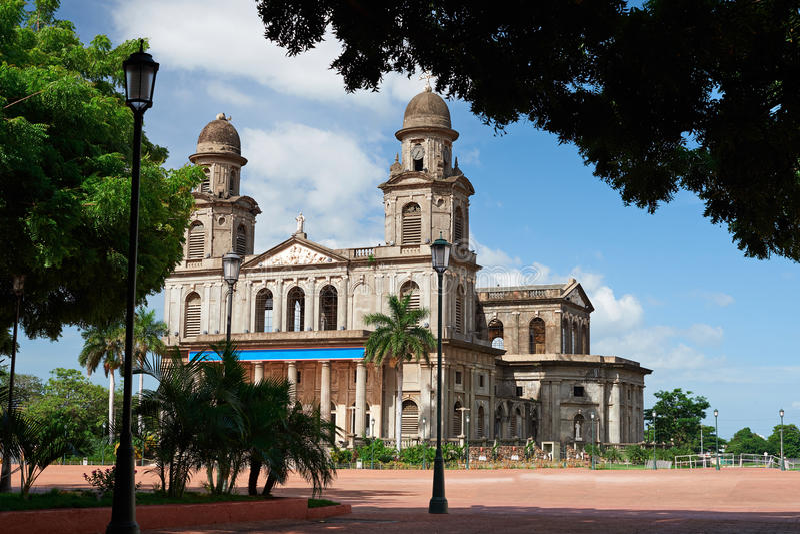 Central fyrkant i Managua royaltyfri fotografi
