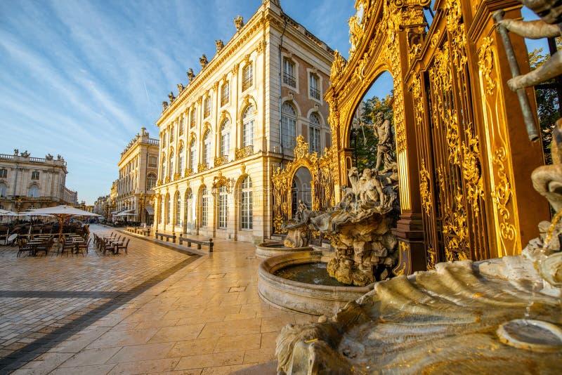 Central fyrkant i Nancy den gamla staden, Frankrike royaltyfri fotografi