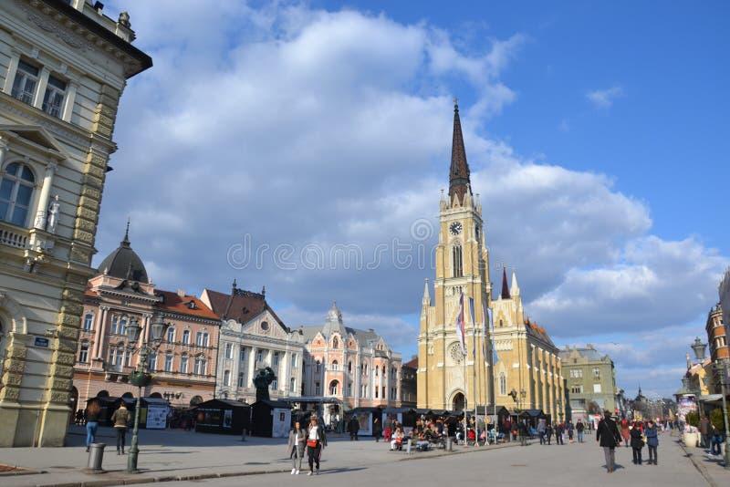Central fyrkant i Novi Sad, Serbien fotografering för bildbyråer