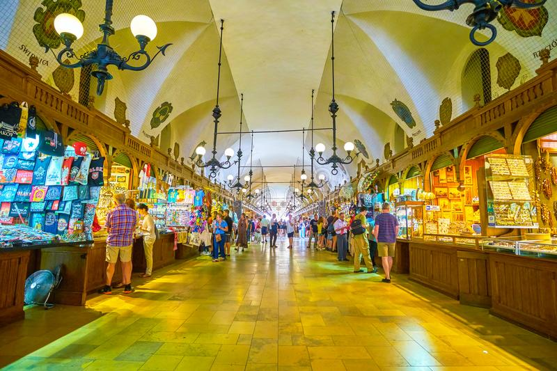 The central gallery of Cloth Hall in Krakow, Poland stock images